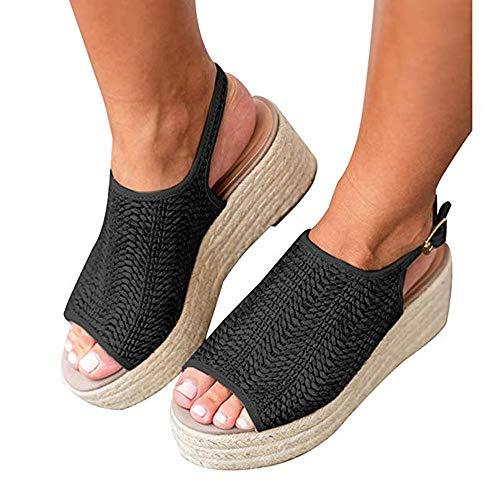 Ymost Women's Espadrille Wedge Sandals Braided Jute Ankle Buckle Platform - Platform Braided