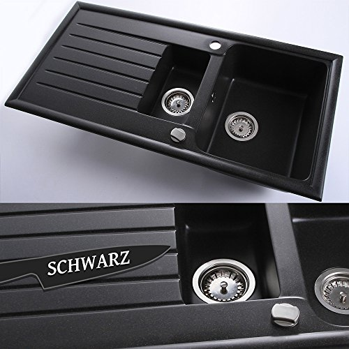 Granitspüle Küchenspüle Einbauspüle + Drehexcenter | 60er | 98 x 49 cm | Farbe: Schwarz
