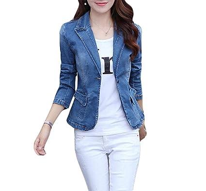 Chaquetas Mujer Slim Fit De Tubo Clásico Abrigo De Jeans Mode De Marca Primavera Manga Larga