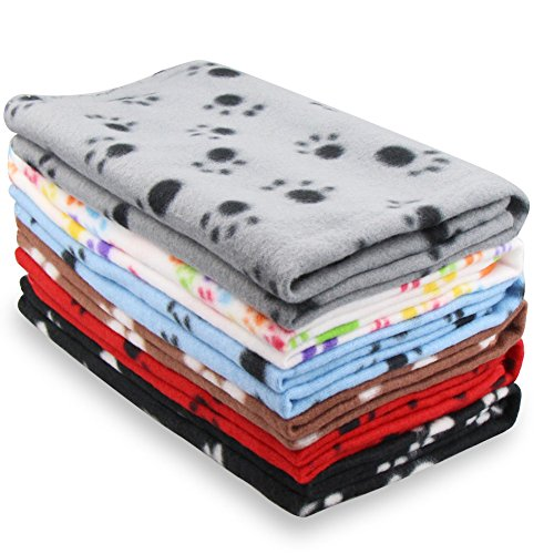 Eagmak Cute Dog Cat Fleece Blankets with Pet Paw Prints for Kitten Puppy and Small Animals Pack of 6 (black, brown, blue, grey, red and white)