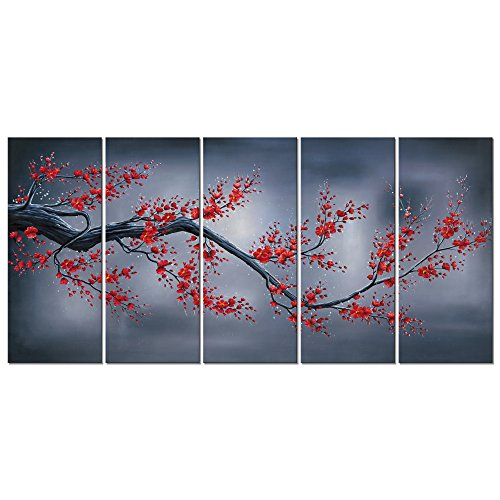 - Wieco Art Red Plum Blossom 5 Piece Giclee Canvas Prints Wall Art By Floral Oil Paintings Reproduction Pictures for Living Room Bedroom Home Decorations Modern Stretched and Framed Flowers Artwork
