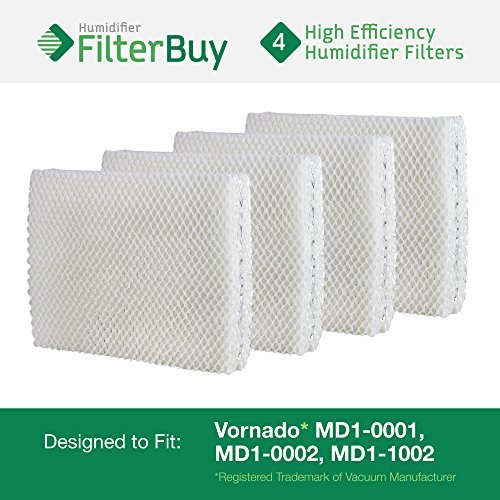 Vornado MD1-0001, MD1-0002, MD1-1002 Humidifier Wick Filter. Designed by FilterBuy to fit all Vornado Evaporative Humidifiers. Pack of 4 Filters. (Vornado Humidifier Filters compare prices)