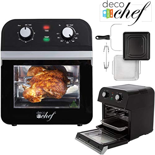 - Deco Chef XL 12.7 QT Oil Free Air Fryer Multi-Function High Capacity Countertop Convection Oven, Toaster, Dehydrator, Rotisserie All-in-One Healthy Kitchen Oven Instructional Cook Book Included