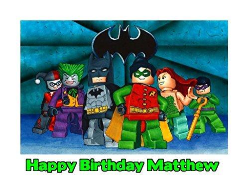 Lego Batman Image Photo Cake Topper Sheet Personalized Custom Customized Birthday Party - 1/4 Sheet - 79940 ()