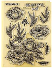 Large Flowers Leaves Dies and Stamp Sets for Card Making DIY Scrapbooking Metal Cutting Dies Match Clear Rubber Stamp Arts Crafts Scrapbooking Supplies Die Cuts Template Scrapbook Photo Album Decor