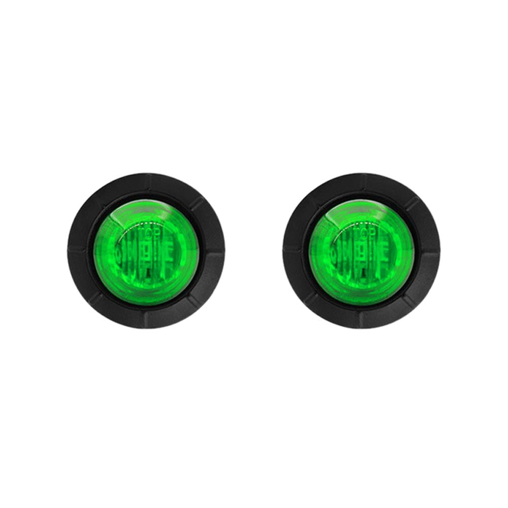 4in luz redonda LED de separaci/ón 2pcs 3Leds impermeable indicador de marcador de lado trasero trasero l/ámpara de bala 12V para cami/ón de coche verde hgfter 3