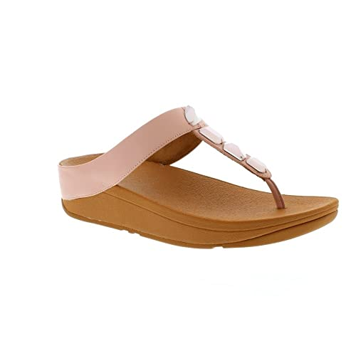 1d5395731c1b Fitflop Women s ROKA Toe-Thong Sandals-Leather T-Bar (Dusky Pink 535 ...
