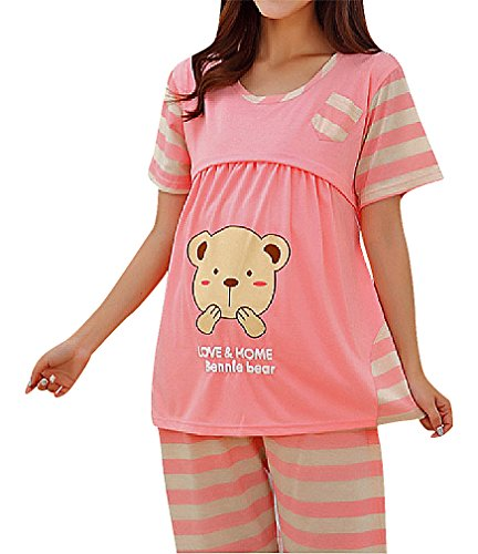 US&R Women's Fun Animal Design Maternity Breastfeeding Cap Sleeve Capri Pajamas, Pink M ,Manufacturer(L) Classic Ruffle Capri Pajama