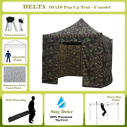 10'x10' Pop up Canopy Wedding Party Tent Gazebo EZ Camouflage - F Model Commercial Frame By DELTA (Camouflage Canopy)