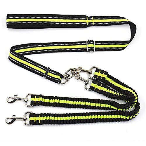 FairOnly Reflective Double Dog Leash No Tangle pet Leash for Walking Two Dogs Adjustable Strong Dog Lead Two Dog Leash Coupler None M