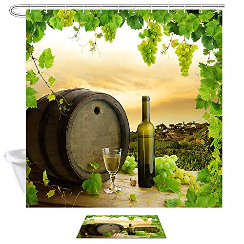DYNH White Wine Shower Curtain Set, White Wine Estate, White Grapes, Oak Casks, White Wine Shower Curtain Fabric with Bath Mat,Waterproof Bathroom Set with Rugs,69 X 70 - Estate Club Wine