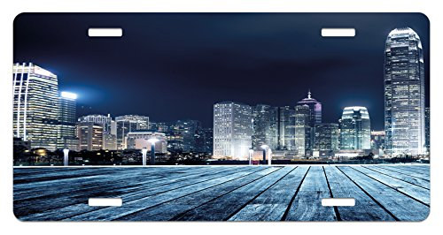 Lunarable Landscape License Plate, Asia China Hong Kong City Skyline View at Blue Night Towers and Skyscapers Photo, High Gloss Aluminum Novelty Plate, 5.88
