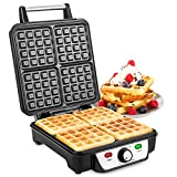 Savisto Large Quad Waffle Maker | 1100W Electric Belgian Waffle Iron with Temperature Control & Non-Stick Coating Cooking Plates - Cooks up to 4 Waffles