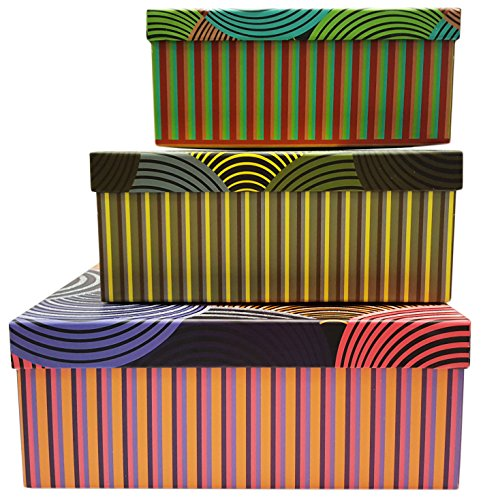 Alef Elegant Decorative Themed Nesting Gift Boxes -3 Boxes- Nesting Boxes Beautifully Themed and Decorated - Perfect for Gifts or Simple Decoration Around the House! (Sparkle Line Pattern)