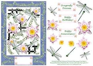 Oriental dreams libélulas y nenúfares Decoupage hoja de tarjeta 3por Elaine Sheldrake