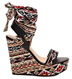 Bamboo Charade 24 M Womens Wrap Around Fabric Lace Wedge Platform Sandals Black Multi 9