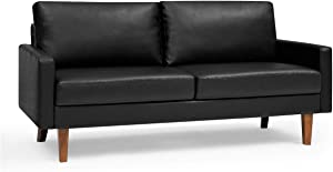 """Container Furniture Direct Pantaleon Mid Century Modern Faux Leather Living Room Sofa, 69.7"""", Black"""