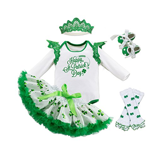 Fairy Baby Baby Girl St. Patricks Day Outfit Shamrocks Green Party Costume Dress Set,Happy St. Patrick's Day,3-6M -