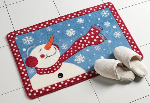 Frosty Winter Snowman Bath Rug