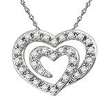 14K White Gold 1/10cttw Double Heart Pendant