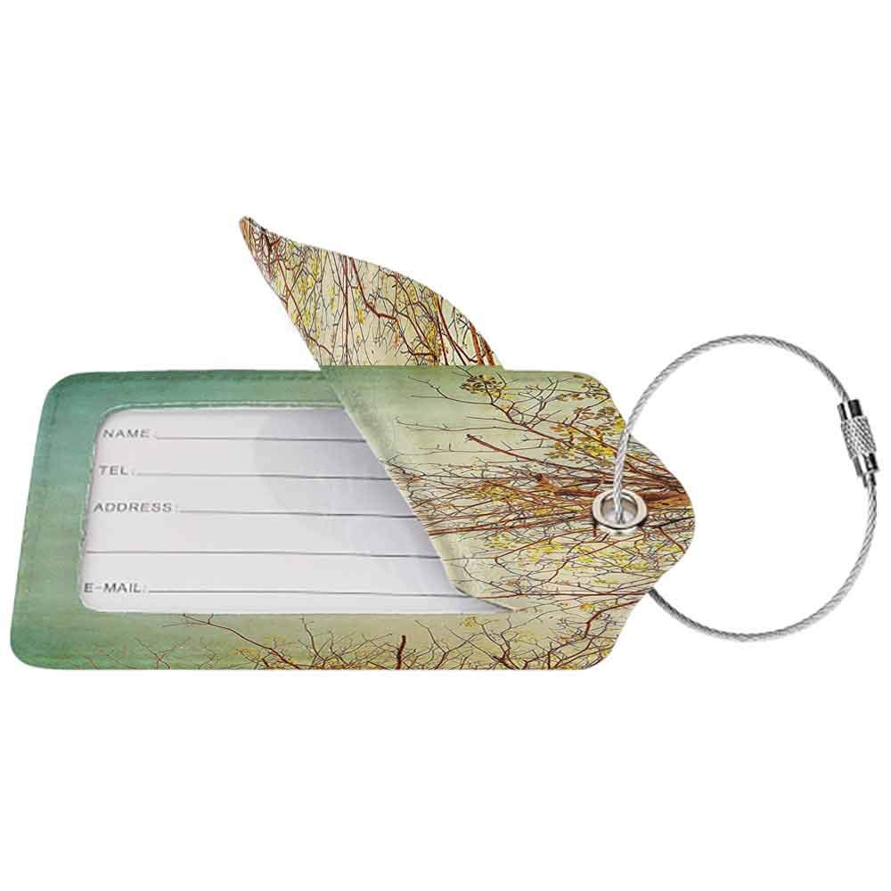 Small luggage tag Nature Vintage Tree Flower Branches with Spring Blooms Fresh Leaves Print Quickly find the suitcase Ginger Mint and Light Green W2.7 x L4.6
