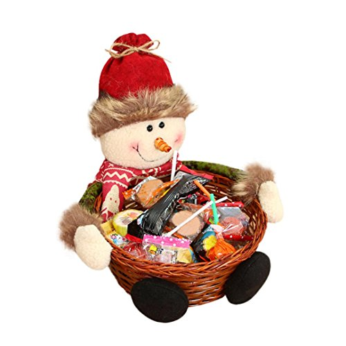 Merry Christmas Candy Basket, Santa Claus Candy Gifts Snowman Elk Storage Stand Bamboo Basket, Xmas Decoration Photography Prop by Staron (Snowman) (Xmas Cookie Gift Baskets)