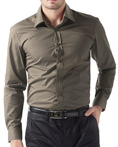 (PJ PAUL JONES Durable Mens Casual Long Sleeve Dress Shirts (S, Umber 52))