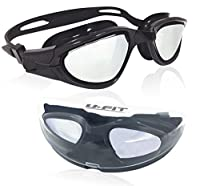 #1 Rated Swim Goggles On Amazon - 2016 U-FIT® Comfort Fit Swim Goggles - FREE Protection Case - For Men and Women - 100% U.V. Protection - Anti-shatter - Anti-fog - Mirror Coated Lenses - Easily Adjustable, Environment Friendly Dual Strap Engineered For M