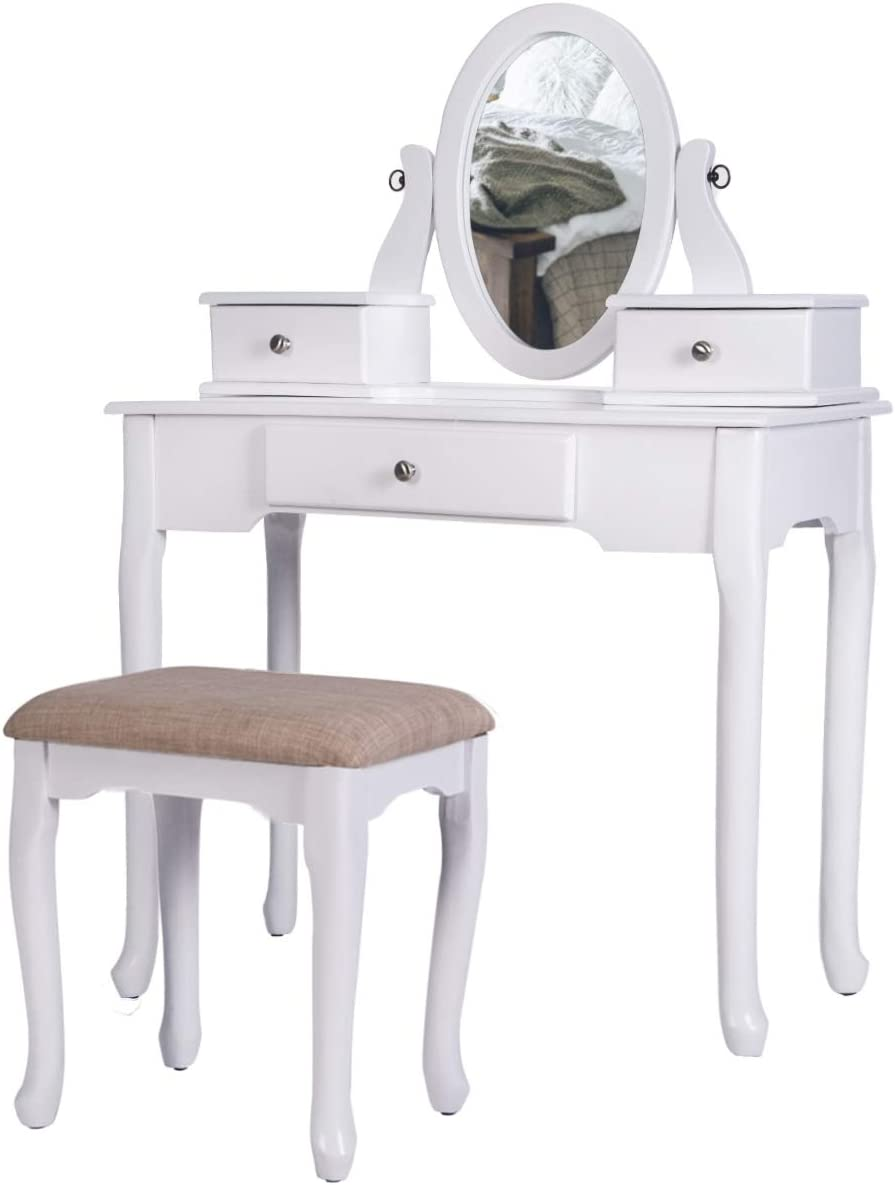 Vanity Makeup Set, Flip Top Mirror Dressing Table with Cushioned Stools and Three Removable Drawers for Women Girls, White