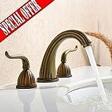 VESLA HOME Vintage Two Handle High Arc Widespread Bathroom Faucet, Roman Tub Faucets, Imitation Bronze