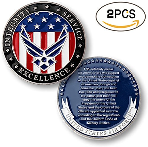 zcccom 2 pcs Set of Challenges Coins Deluxe Collector's Set | Air Force Oath of Enlistment Challenge Coin Each Coin Comes w/ a Plastic Round Display Case (Air Force Oath of Enlistment) (Deluxe Collector Set)