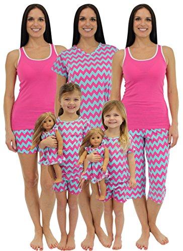 SleepytimePjs Mommy & Me Matching Pjs (Chevron Pink, 6)