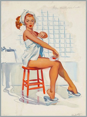 1940s Pin-Up Girl Bathtime Bath Time Redhead Vintage Picture Poster Print Art Vintage Pin