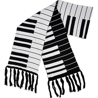 Fine Knit Keyboard Scarf 66X'' 9''