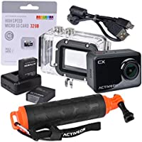 ACTIVEON CX 1080p WiFi Action Camera with Dual Batteries, 32GB microSD Card, Hand Grip and Case