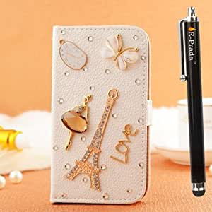E-Prada HTC One M7 International Jewelry Bling Diamond Gem Magnetic Flip Cards Slots Stand Leather Case Cover - Dating in Eiffel Tower