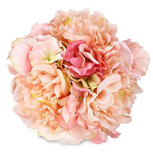 SOLEDI Artificial Peony Hydrangea Silk Flowers for Bouquet DIY Wedding Home Party Decor (Pink)
