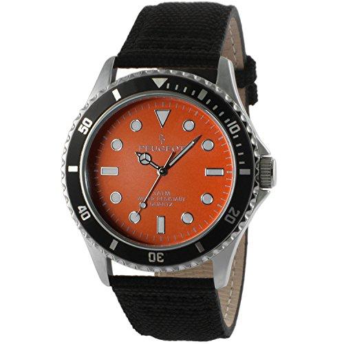 Peugeot Men's 'Orange' Quartz Metal and Canvas Sport Watch, Color:Black (Model: 2057OR)