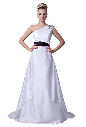 sale retailer d2555 04fcd GEORGE BRIDE Eine Schulter Leichte Taft Brautkleid mit ...