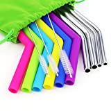 Loves Reusable Straws Set 6 PCS Silicone Rubber Straws for 20 30oz Yeti Tumbler/Rtic Straws,4 PCS Stainless Steel Straws and 3 Cleaning Brushes