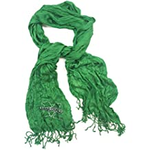 Silky Crinkle Scarf with Small M with Marshall bar