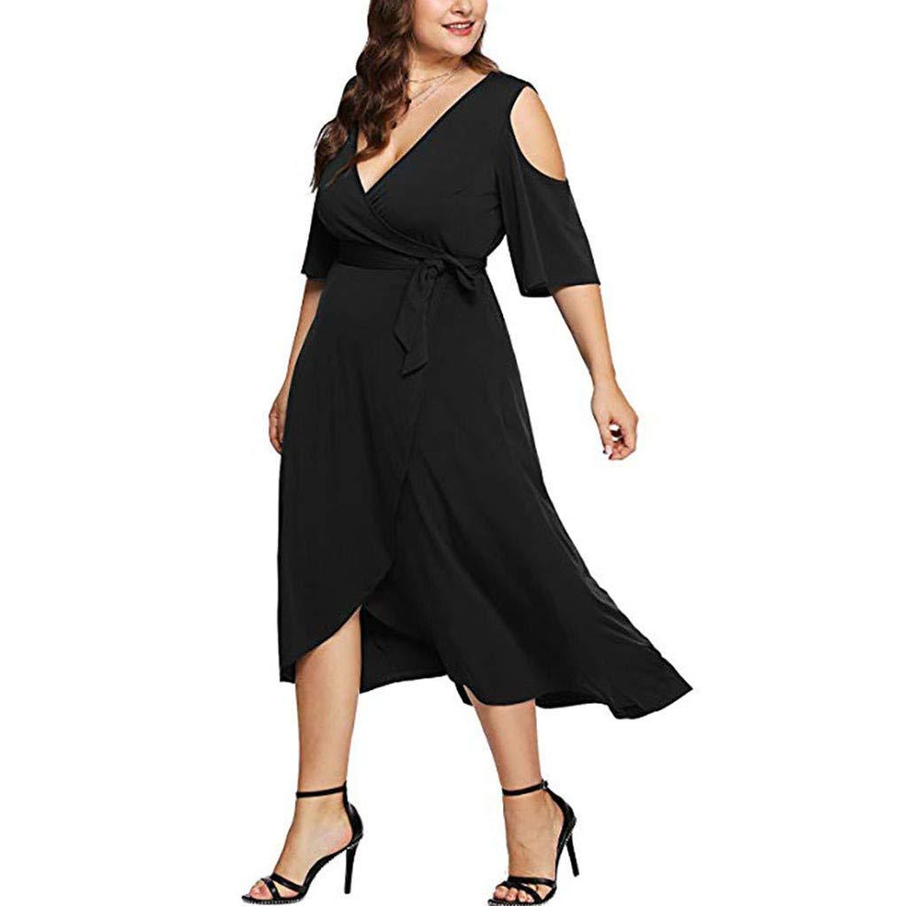HOMEMUNI Women Casual V-Neck Dress, Ladies Off Shoulder Long Sleeve Solid Long Dress Solid Skirt Plus Size L-3XL Black