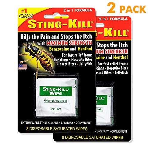 Sting-Kill External Anesthetic Wipes, Package of 5 Wipes (2 Pack) (Best Treatment For Bee Sting Itching)