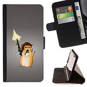 BullDog Case - FOR/Apple Iphone 5C / - / Funny Ramb Chipmunk Solder /- Monedero de cuero de la PU Llevar cubierta de la caja con el ID Credit Card Slots Flip funda de cuer