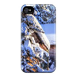 New Cynthaskey Super Strong Wonderful Cabins In Heavy Winter Hdr Tpu Case Cover For Iphone 4/4s