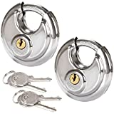 2 Pcs Discus Locks Stainless Steel Uncuttable Round Lock Heavy Duty Rustproof Disc Padlock by STARVAST, 2-3/4 in. Wide (Keyed Different)