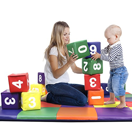 Dream Tree Building Blocks with Numbers [Set of 12] Washable, Non-Toxic CPSIA Compliant Learning Toys Soft Foam Blocks for Toddler, Baby, Kids, and Preschool - Foam Building Blocks Kids