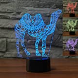 3D Camel Night Light Animal Table Desk Optical Illusion Lamps 7 Color Changing Lights LED Table Lamp Xmas Home Love Brithday Children Kids Decor Toy Gift
