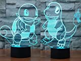 Pack of 2 Squirtle & Charmander 3D Illusion Nightlight Lamp,7 Colors Changing Lighting Table Desk Lamp for Home Decor - BEST Gift for Kids/Friends/Birthdays/Holidays