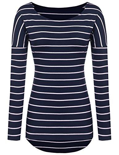 POGT Women's Striped Long Sleeve Cool Weather Shirt Tops Casual Raglan Shirt (M, Navy Blue)